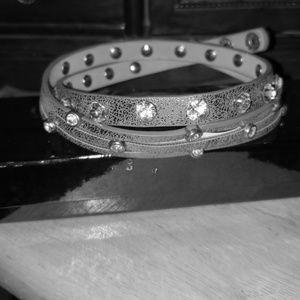Reba Leather Wrap Blingy Bracelet